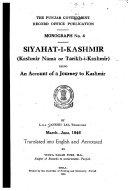 Siyahat i Kashmir  Kashmir Nama Or Tarikh i Kashmir  Being an Account of a Journey to Kashmir