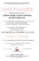Sachs Villatte encyklop  disches franz  sisch deutsches und deutsch franz  sisches W  rterbuch  Franz  deutsch  nebst Suppl