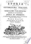 Storia della letteratura italiana di Girolamo Tiraboschi ... Duca di Modena ...