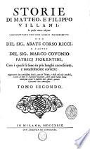 Storie di Giovanni  Matteo e Filippo Villani