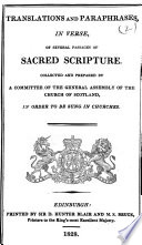 Translations And Paraphrases In Verse Of Several Passages Of Sacred Scripture Etc book