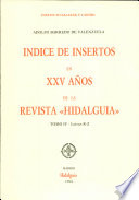 """Indice de insertos en XXV años de la revista """"Hidalguía"""""""