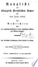 Rangliste der K  niglich Preussischen Armee f  r das Jahr 1806  mit Nachrichten   ber das nachherige Verh  ltniss der darin aufgef  hrten Officiere und Militair Beamten