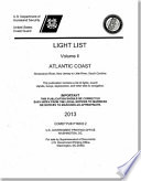 Light List  2013  Volume 2  Atlantic Coast  Shrewsbury River  New Jersey to Little River  South Carolina