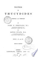 Notes on Thucydides  original and compiled by J G  Sheppard and L  Evans