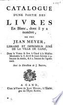 Catalogue d une partie de livres en blanc     de feu Jean Meyer