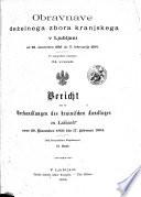 Obravnave Deželnega zbora kranjskega v Ljubljani