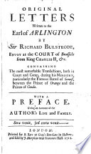 Original Letters Written to the Earl of Arlington