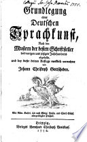 Best Grundlegung einer deutschen Sprachkunst ...