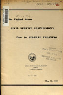 The United States Civil Service Commission's Part in Federal Training