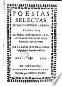 Poesías selectas de varios autores latinos, traducidas en verso castellano