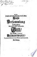 An die ... Reichs-Versammlung zu Regensburg höchst angel. Bitte die ReichsPrälatur Salms betreffend