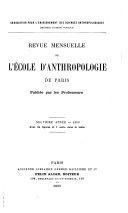 Revue mensuelle de lʹÉcole d'Anthropologie de Paris