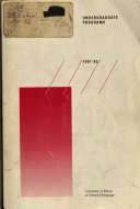 Undergraduate Programs; Catalog