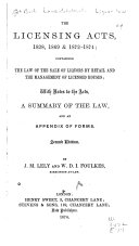 download ebook the licensing acts, 1828, 1869 & 1872-1874 pdf epub