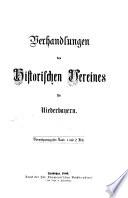 Verhandlungen des Historischen Vereins für Niederbayern