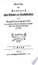 Beyträge zur Kenntniß alter Bücher und Handschriften