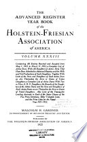 Advanced Register Year Book of the Holstein Friesian Association of America