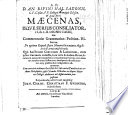 Resp D A Rivini Maecenas Isque Serius Consiliator E Lib Lii Dionis Cassii Seu Commentatio De Optimo Reipub Statu Monarchico Mixto Etc