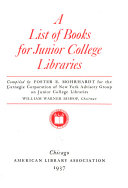 A List of Books for Junior College Libraries
