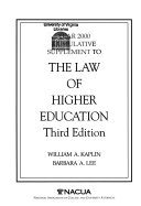 Year 2000 Cumulative Supplement to The Law of Higher Education  Third Edition