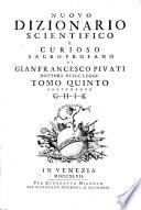 Nuovo Dizionario Scientifico E Curioso Sacro Profano