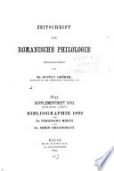 Zeitschrift f  r romanische Philologie