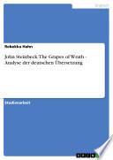 John Steinbeck  The Grapes of Wrath   Analyse der deutschen   bersetzung