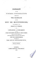 Postscript to the Further considerations respecting the marriage of the Duc de Montpensier     Second edition Book PDF