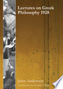 Lectures on Greek Philosophy 1928