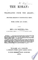 The Koran  Translated from the Arabic  the Suras Arranged in Chronological Order  with Notes and Index  By J  M  Rodwell