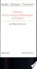 Histoire de la critique dramatique en France