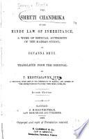 The Smruti Chandrika on the Hindu Law of Inheritance