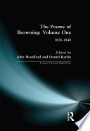 The Poems of Browning  Volume One