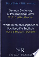 Dictionary of Philosophical Terms: English-German