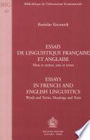 Essais de linguistique fran  aise et anglaise