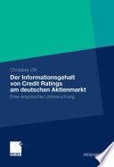 Der Informationsgehalt von Credit Ratings am deutschen Aktienmarkt