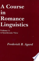 A Course in Romance Linguistics  A synchronic view