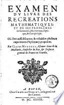 Examen du livre des recréations mathematiques