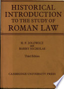 A Historical Introduction to the Study of Roman Law