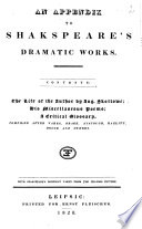 An Appendix to Shakspeare s Dramatic Works