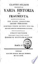 Claudii Aeliani sophistae varia historia et fragmenta