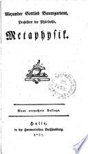 Alexander Gottlieb Baumgartens, Professors der Philosophie Metaphysik