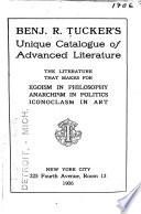 Benj  R  Tucker s Unique Catalogue of Advanced Literature Book PDF