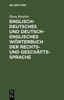 download ebook englisch-deutsches und deutsch-englisches wörterbuch der rechts- und geschäftssprache pdf epub