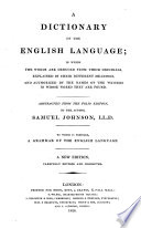 A Dictionary of the English Language     Abstracted from the folio edition of the author     Fourteenth edition  corrected  etc