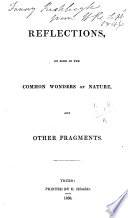 Reflections On Some Of The Common Wonders Of Nature And Other Fragments Signed H R I E Harriet Rodd