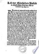 Lobe des Esels ... inn Latein beschriben, Von Sebastian Francken verteutscht