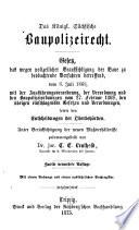 Das Königl. Sächsische Baupolizeirecht
