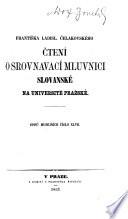 Čtení o srovnavací mluvnicí slovanské na Universitě pražské